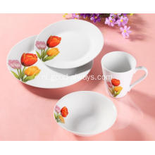 16 delige Floral Decal porselein diner Set