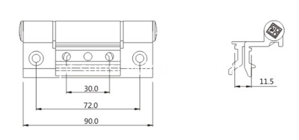 High Quality Soft Close Window Pivot Hinge Drawing
