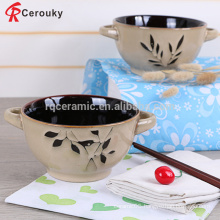 Wholesale reusable stoneware soup bowl with two handle
