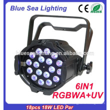 stage lighting led par 18pcs 18w 6in1 RGBWA UV indoor/outdoor lighting