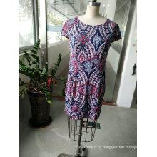 Весенняя мода последний красочный геометрический узор элегантный Женский платье