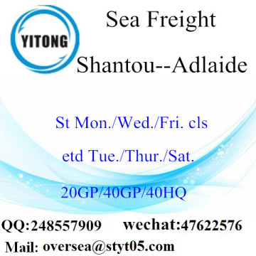 Transporte marítimo de Shantou Port Sea Shipping To Adelaide
