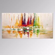 Pintura al óleo hecha a mano del barco / pintura al óleo del paisaje / arte casero de la pared de la decoración