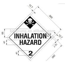 Etiqueta de riesgo de inhalación de etiqueta de etiqueta de clase Harzard