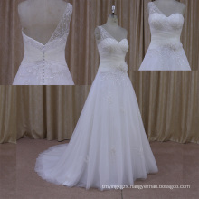 Convertible Bandage Wedding Dress Open Back Short Train