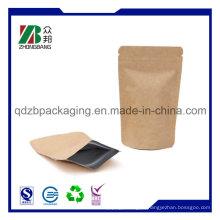 China fabricante Levante-se Ziplock Kraft saco de papel para chá de café Embalagem