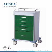 AG-GS001 neuer Entwurf dunkelgrüner kaltgewalzter medizinischer Notfallwagen des Stahls für Verkauf