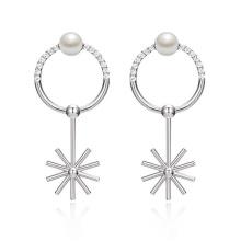 Fabrik Preis Nizza Perle Ohrringe schöne funky Perle und cz Anhänger Ohrring für Mädchen