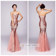 Mermaid Embellished Evening Dress Strapless Fish Tail Sequins Full Dress