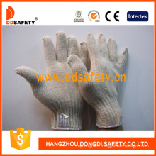7 Gauge 4 Thread Natural Cotton Polyester Knitted Working Safety Gloves Dck704