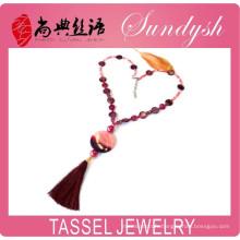Unique collier de perles perlées à la main collier long pendentif Agate violet gemme pompon