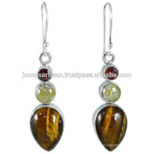 Latest Design Tiger Eye And Multi Gemstone 925 Sterling Silver Earring Jewelry