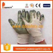 Nylon beige con guante de nitrilo verde-Dnn510