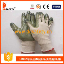 Beige Nylon with Green Nitrile Glove-Dnn510