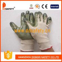 Beige Nylon mit grünem Nitril-Handschuh Dnn510
