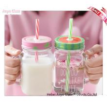 Vente en gros de pot de maçonnerie transparente pour boisson Bouteille de lait en verre avec couverture