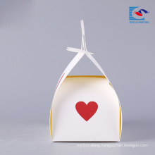 luxury printed small paper cake box with handle