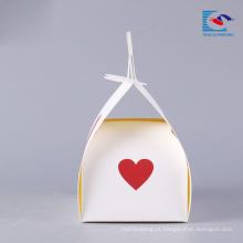 luxo impresso caixa de bolo de papel pequeno com alça