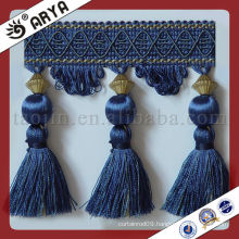 Navy Blue Woven Curtain Tassel and Beads Fabric Trims for curtain Tapestry and sofa ,cushion,Curtain Fringe for Textile Dec.