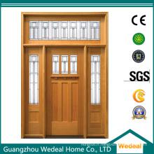 Porte d'ouvrier en bois d'artisan avec le verre pour le projet de villa