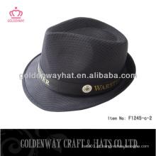 Chapéu de fedora de poliéster preto para venda promocional barato com logotipo personalizado na banda