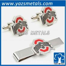 Ohio State university buckeyes tie bars and cufflinks, custom made metal tie clip with design