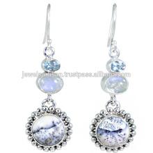 Dendritischer Opal und mehrerer Edelstein 925 Sterling Silber Ohrring