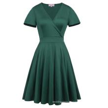 Hanna Nikole Dark Green Short Sleeve V-Neck Plus Size Bridesmaid Swing Summer Dress HN0017-3
