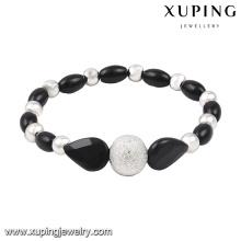 51522 brazalete de joyería de moda simple grano en rodio-plateado
