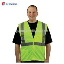 Gilet de sécurité jaune fluo bon marché de la classe 2 ANSI pour le travail extérieur Gilet de travail routier de haute visibilité de maille avec les bandes réfléchissantes