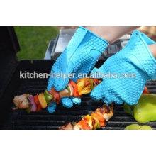 Cocina de grado alimenticio a la medida que cocina los guantes resistentes al calor del barbacoa del silicón / los guantes de la parrilla del horno del silicón / el mitón del horno