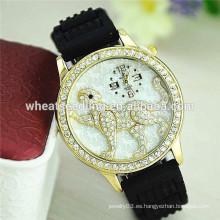 Reloj de lujo del patrón del leopardo de la venda del silicón del diseño más último con los taladros