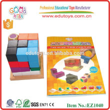 EZ1040 Wooden Craft 3D Cube Brain Storm Block Brain Teaser