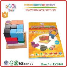 EZ1040 Artesanato de madeira 3D Cube Brain Storm Block Brain Teaser