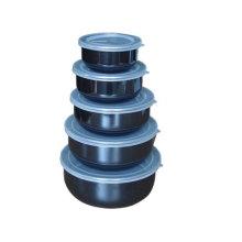 5 Stück Emaille Rührschüssel Sets mit Kunststoffdeckel