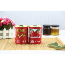 2016 nuevos tomates asépticos de cultivos 400 G de pasta de tomate enlatada Brix 28-30% de la pausa fría