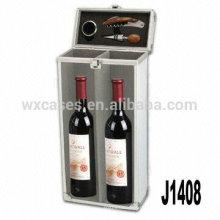 Neue Ankunft! professionelle Aluminium Wein Geschenkbox für 2 Flaschen