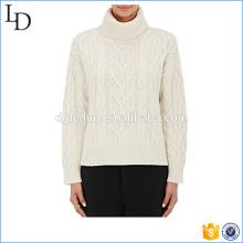 Обычный белый черепаха шеи свитер высокого шею свитер женщин