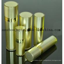 Grupo cosmético da garrafa de perfume da loção de creme plástica dourada do frasco do OEM