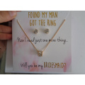 Valentine′s día collar y pendiente con la tarjeta de regalo