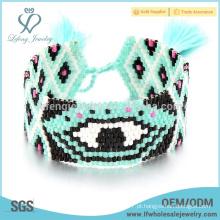 Pulseiras coloridas baratos para as mulheres, semente de grânulos envolver jóias pulseira