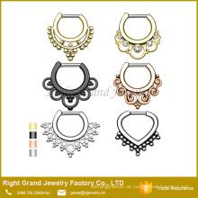 Vergoldet Assorted Designs Nasenring Piercing Septum Faux Ringe