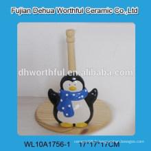 Support de tissu céramique populaire avec forme de pingouin