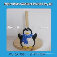 Popular ceramic tissue holder with penguin shape