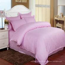 Conjuntos de cama de estoque colorido cetim listra hotel com lençol cabido (dpf1062)