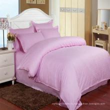 Акции цветные атласные полоса отель постельных принадлежностей с приспособленный лист (DPF1062)