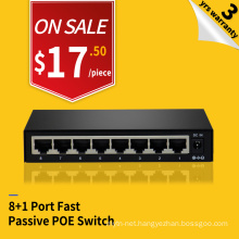 HRUI 8 port 24V steel housing fast passive POE Switch injector