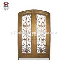Porta de entrada principal de design de grade de portão de ferro forjado