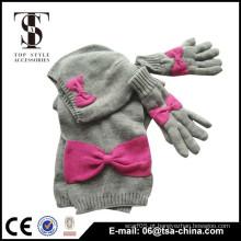 100% crianças acrílico tricotado lenço, chapéu e conjuntos de luva