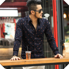 Fashion Muslin Men's Shirt Printed Fabric Wholesale